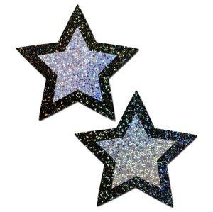 Nipple Pasties Black Silver Glitter Star REUSABLE